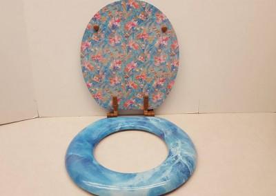 blue toilet seat